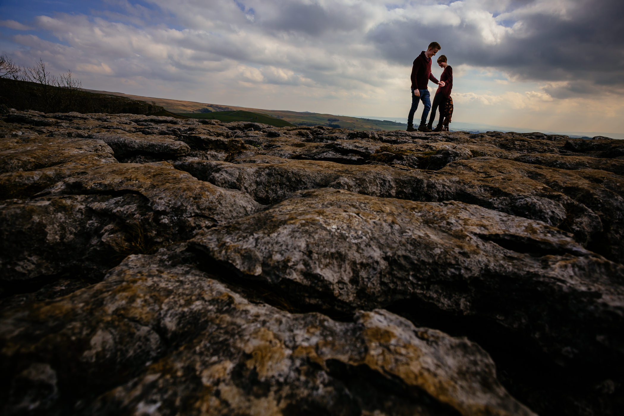 Helen & Adam Malham Cove engagement Photography Sansom photography-1
